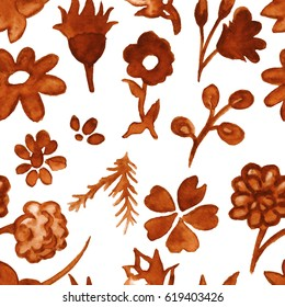 Seamless pattern with hand drawn watercolor flowers and leaves in coffee colors.