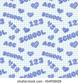 Seamless pattern with hand drawn words, numbers and hearts on school squared paper. Illustration