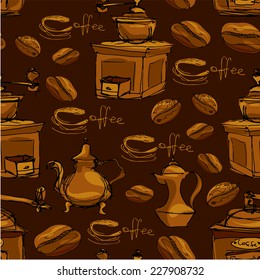 Seamless pattern with handdrawn coffee cups, beans, grinder, coffee pot, calligraphic text COFFEE. Background design for cafe or restaurant menu. Raster version