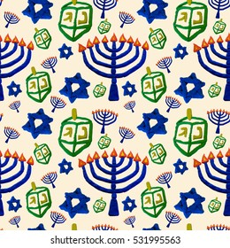 seamless pattern with Hanukkah symbols, Jewish holiday background, children are molded from colored sand
