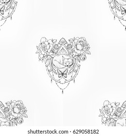 Seamless pattern of a haunting fox in flowers on white background.