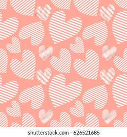 Seamless pattern with hearts. Background with hand drawn ornamental symbols. Template for wrapping, decor, surface, cards, backgrounds, textile, print. Repeat ornament. Series of Love Patterns.
