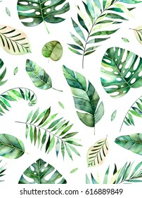 Seamless pattern with high quality hand painted watercolor tropical leaves.Tropical forest collection.,Perfect for your project,wedding,greeting card,photos,blogs,wallpaper,pattern,texture and more