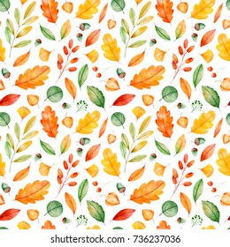 Seamless pattern with high quality hand painted watercolor autumn leaves.My Lovely Autumn collection,Perfect for your project,wedding,greeting card,photos,blogs,wallpaper,pattern,texture and more