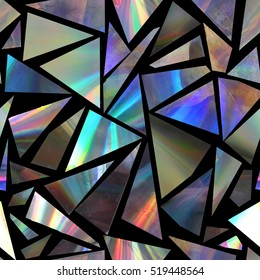 Seamless pattern with holographic triangles on black background.