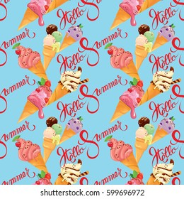 Seamless pattern with Ice cream cones with glaze, Chocolate, strawberry, blueberry and cherry, on blue background. Calligraphic handwritten text Hello Summer. Seasonal design. Raster version