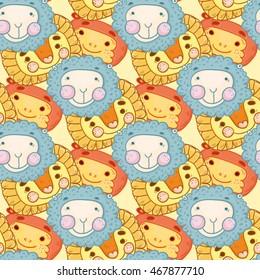 Seamless pattern illustration cute animals for children