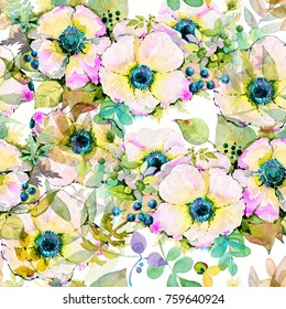 Seamless pattern with image Anemones flowers, leafs and small flowers in vintage watercolor style.
