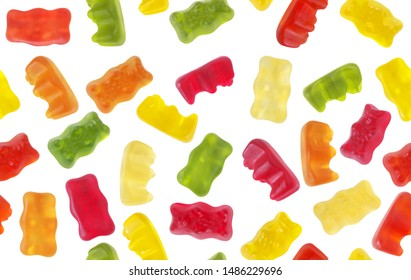 Seamless pattern of isolated colorful gummy bears for textile