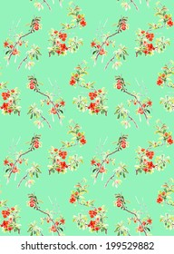 Seamless pattern: Japanese quince blossoms