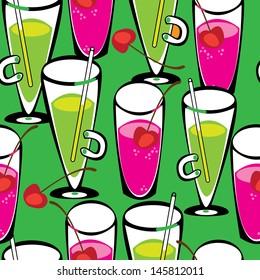 seamless pattern juice in glass