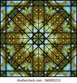 Seamless pattern kaleidoscope: autumn stained glass
