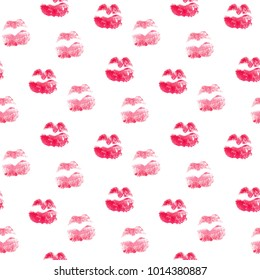 Seamless pattern with kiss lips . Cute background in watercolor. Valentines day texture. Fashion textile print design