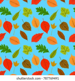 A seamless pattern of leaves and on a blue background. Autumn wallpaper design. Flat design  Illustration EPS