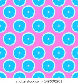Seamless pattern with lemons Blue citrus fruits on a pink background Illustration in pop art style