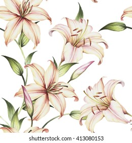 Seamless pattern with lilies. Watercolor illustration.