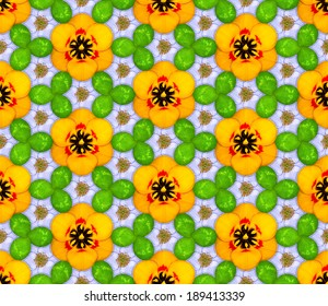 Seamless pattern made of flowers and shamrocks