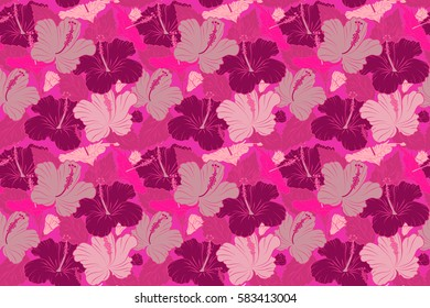 Seamless pattern with magenta and pink flowers. Raster illustration. Raster illustration of magenta and pink hibiscus flowers.