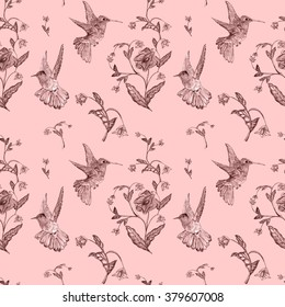 Seamless pattern of magical flowers and bird hummingbird on a white background. Watercolor illustration for design of invitations, movie posters, fabrics and other objects.