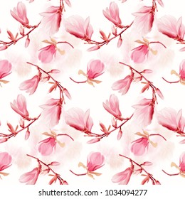 seamless  pattern of magnolia flowers . Endless texture for your design.