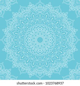 Seamless pattern with mandala ornament. Hand drawn illustration