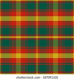 seamless pattern Maple Leaf Canadian tartan with four colours of the maple leaf