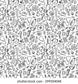 seamless pattern Medical icons and elements of health. Medical Icons Background