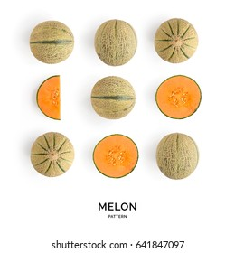 Seamless pattern with melon. Tropical abstract background. Melon the white background.