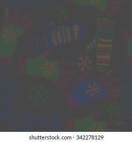 Seamless   pattern  of mitten  motifs, doodles, objects, snowflakes, knitwear. Hand drawn.