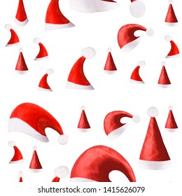 seamless pattern. New Year's hats. isolated on white background