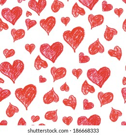 Seamless pattern with oil pastel hearts