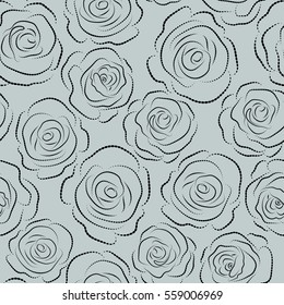 Seamless pattern on a gray background. Dashed flowers illustration.
