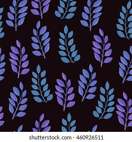 Seamless pattern on leaves theme. Blue leaves on a dark background. Endless elegant texture with leaves in a graphic style. Tempate for design fabric, backgrounds, wrapping paper, package.