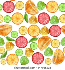 Seamless pattern with orange slices, lime, grapefruit and lemon.Fruit picture.Watercolor hand drawn illustration. For fabric, wrapping paper, print and web projects.