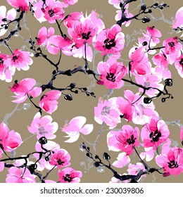 Seamless pattern Orchid-2