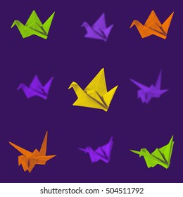 Seamless pattern with origami cranes. Paper color crane origami. Leaves pattern greeting cards, scrapbooking, print, gift wrap, manufacturing, fabric.
