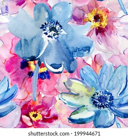 Seamless pattern with original flowers, Watercolor painting