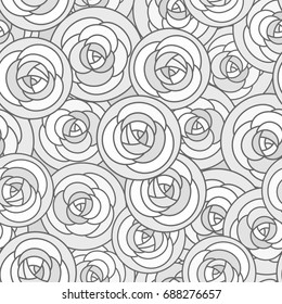 seamless pattern with outline decorative roses in gray tones. Beautiful floral background, stylish abstract flowers