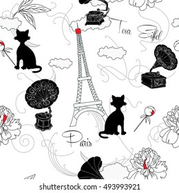 Seamless pattern with  Paris, flowers  and gramophone.Hand drawn sketches old record player.  music illustration