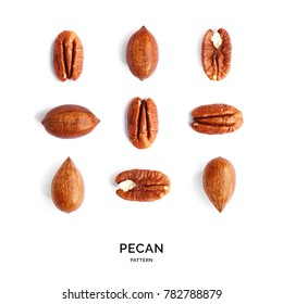 Seamless pattern with pecan. Abstract background. Pecan on the white background.