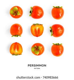Seamless pattern with persimmon. Tropical abstract background. Persimmon on the white background.