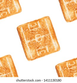 Seamless pattern. Picture in the form of a silhouette of a football (soccer) field on a toasted bread on a white background