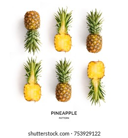 Seamless pattern with pineapple. Tropical abstract background. Pineapple on the white background.