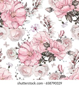 Seamless pattern with pink flowers and leaves on white background, watercolor floral pattern, flower rose in pastel color, tile for wallpaper, card, fabric