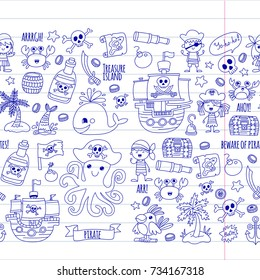 seamless pattern Pirate party for children Kindergarten Kids children drawing style illustration Picutre with pirate, whale, treasure island, treasure map, skulls, flag, ship Birthday party