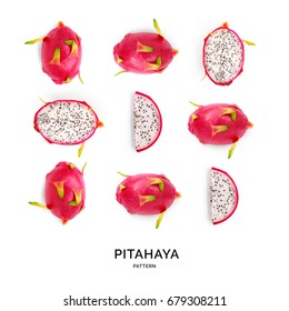 Seamless pattern with  pitaya (dragonfruit). Tropical abstract background.  Pitahaya (dragonfruit) on the white background.