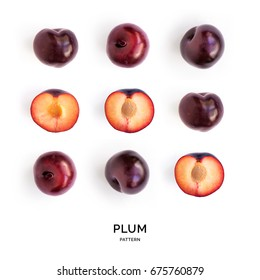 Seamless pattern with plum. Tropical abstract background. Plum on the white background.