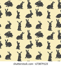 Seamless pattern with rabbits.