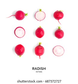 Seamless pattern with radish. Tropical abstract background. Radish on the white background.