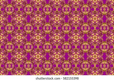 Seamless pattern of raster golden elements on a purple background.
